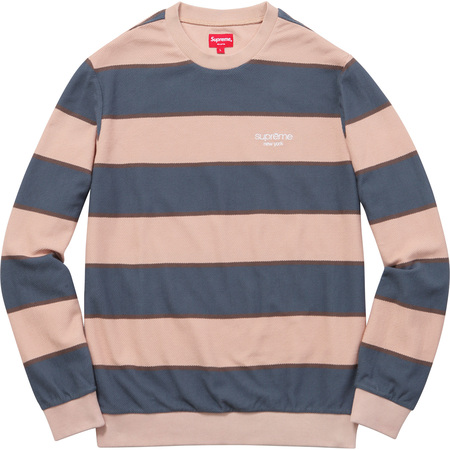 Striped Twill Crewneck (Peach)