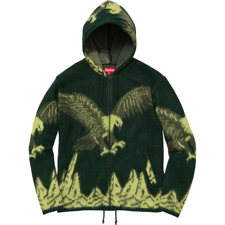 Eagle Hooded Zip Up Sweater (Dark Green)