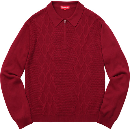 Cable Stripe Knit L/S Polo (Dark Red)