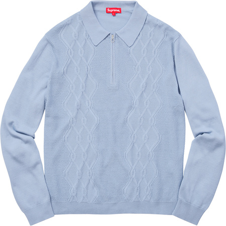 Cable Stripe Knit L/S Polo (Light Blue)