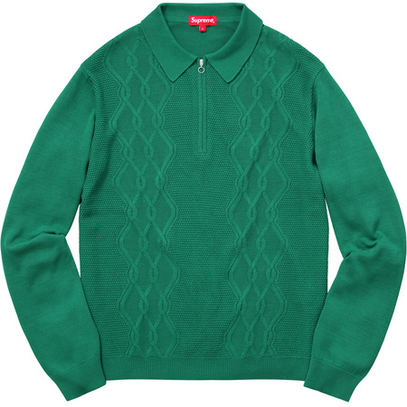 Cable Stripe Knit L/S Polo (Kelly Green)