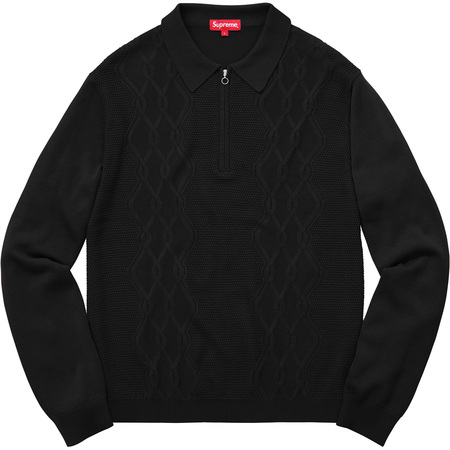 Cable Stripe Knit L/S Polo (Black)