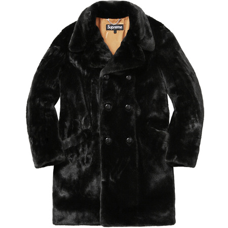 Faux Fur Double-Breasted Coat (Black)