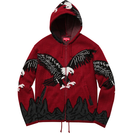 Eagle Hooded Zip Up Sweater (Dark Red)