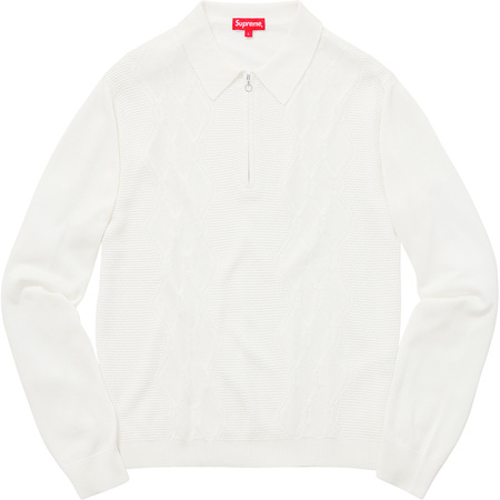 Cable Stripe Knit L/S Polo (White)