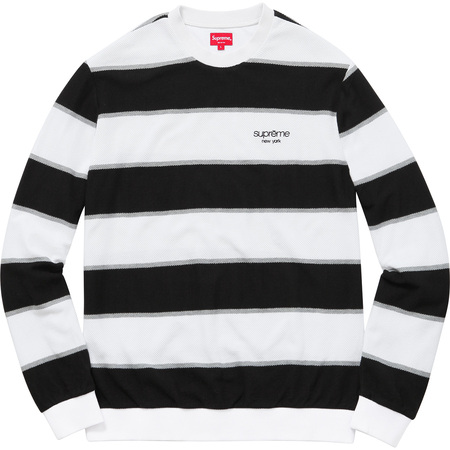 Striped Twill Crewneck (White)