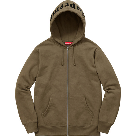 Old English Hood Logo Zip Up Sweat (Olive)