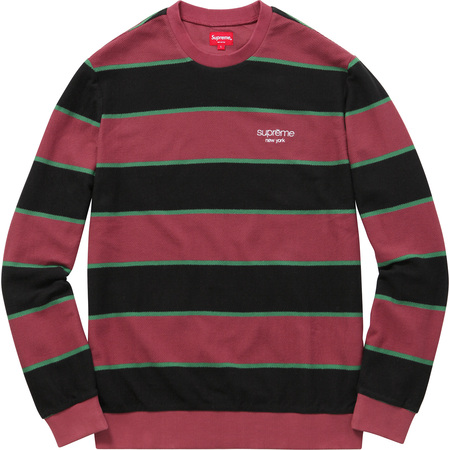 Striped Twill Crewneck (Burgundy)