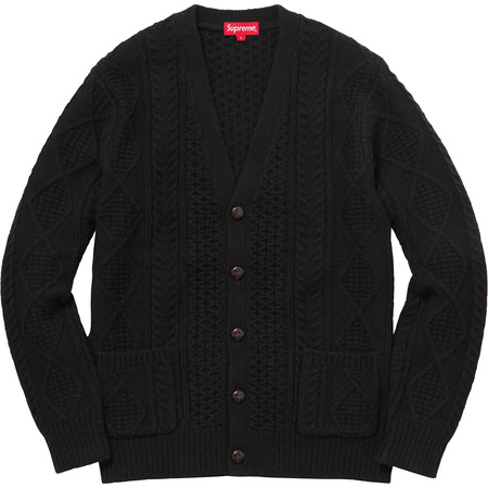 Cable Knit Cardigan (Black)