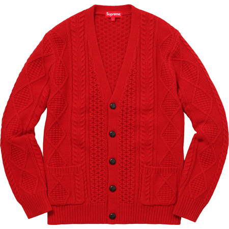 Cable Knit Cardigan (Red)