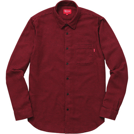 Houndstooth Flannel Shirt (Red)