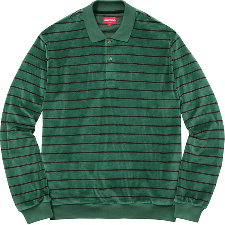 Striped Velour L/S Polo (Green)