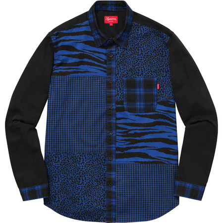 Animal Patchwork Twill Shirt (Blue)