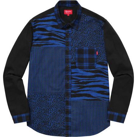 Animal Patchwork Twill Shirt (Blue)