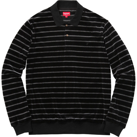 Striped Velour L/S Polo (Black)