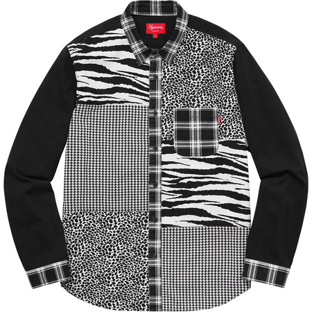 Animal Patchwork Twill Shirt (White)