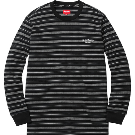 Ribbed Knit Stripe L/S Top (Black)