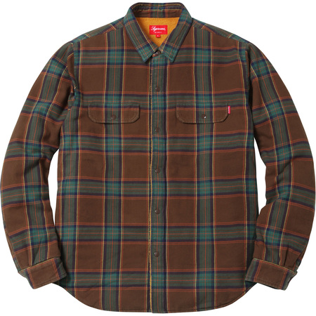 Pile Lined Plaid Flannel Shirt (Brown)