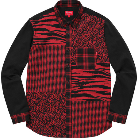 Animal Patchwork Twill Shirt (Red)