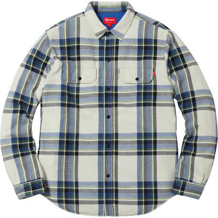 Pile Lined Plaid Flannel Shirt (Off White)
