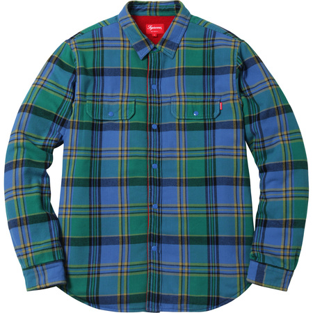 Pile Lined Plaid Flannel Shirt (Royal)