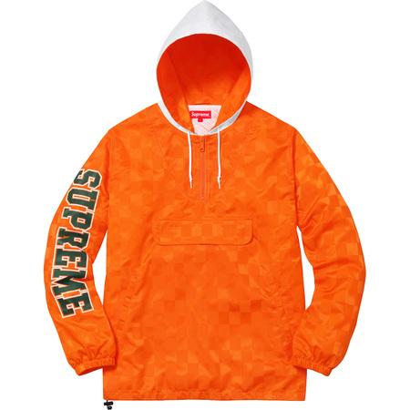 Checkered Nylon Hooded Pullover (Orange)