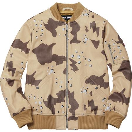 Leather MA-1 Jacket (Desert Camo)