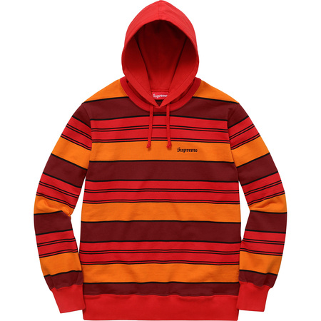 Striped Hooded Crewneck (Red)