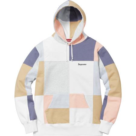 Patchwork Hooded Sweatshirt (White)
