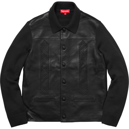 Leather Front Polo Sweater (Black)