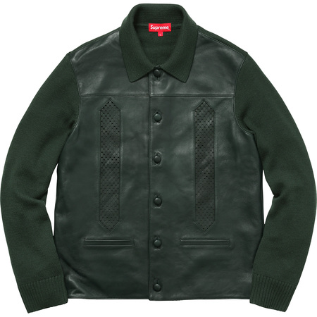 Leather Front Polo Sweater (Dark Green)