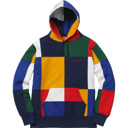 Patchwork Hooded Sweatshirt (Navy)