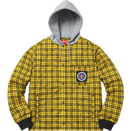 Quilted Liner Hooded Jacket (Yellow Plaid)