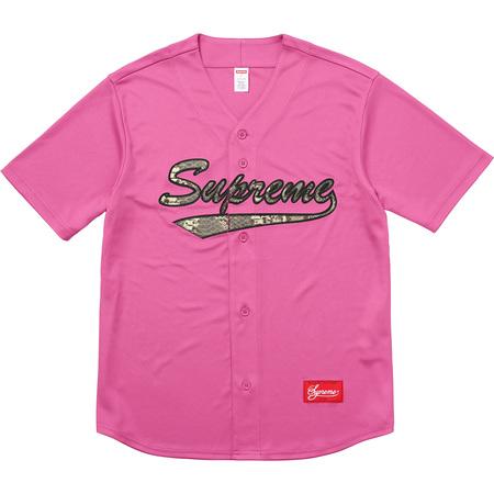 Snake Script Logo Baseball Jersey (Pink)
