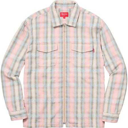Plaid Flannel Zip Up Shirt (Pink)